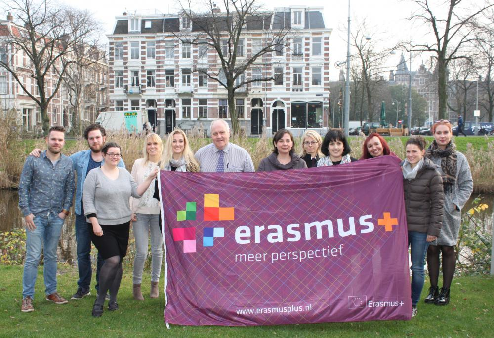 EPZQF project team with Erasmus flag